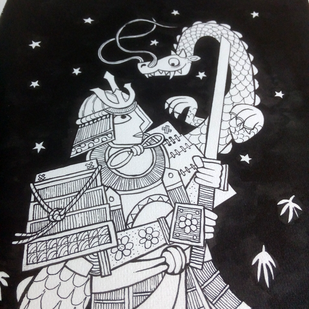 line art black and white image of a samurai and dragon