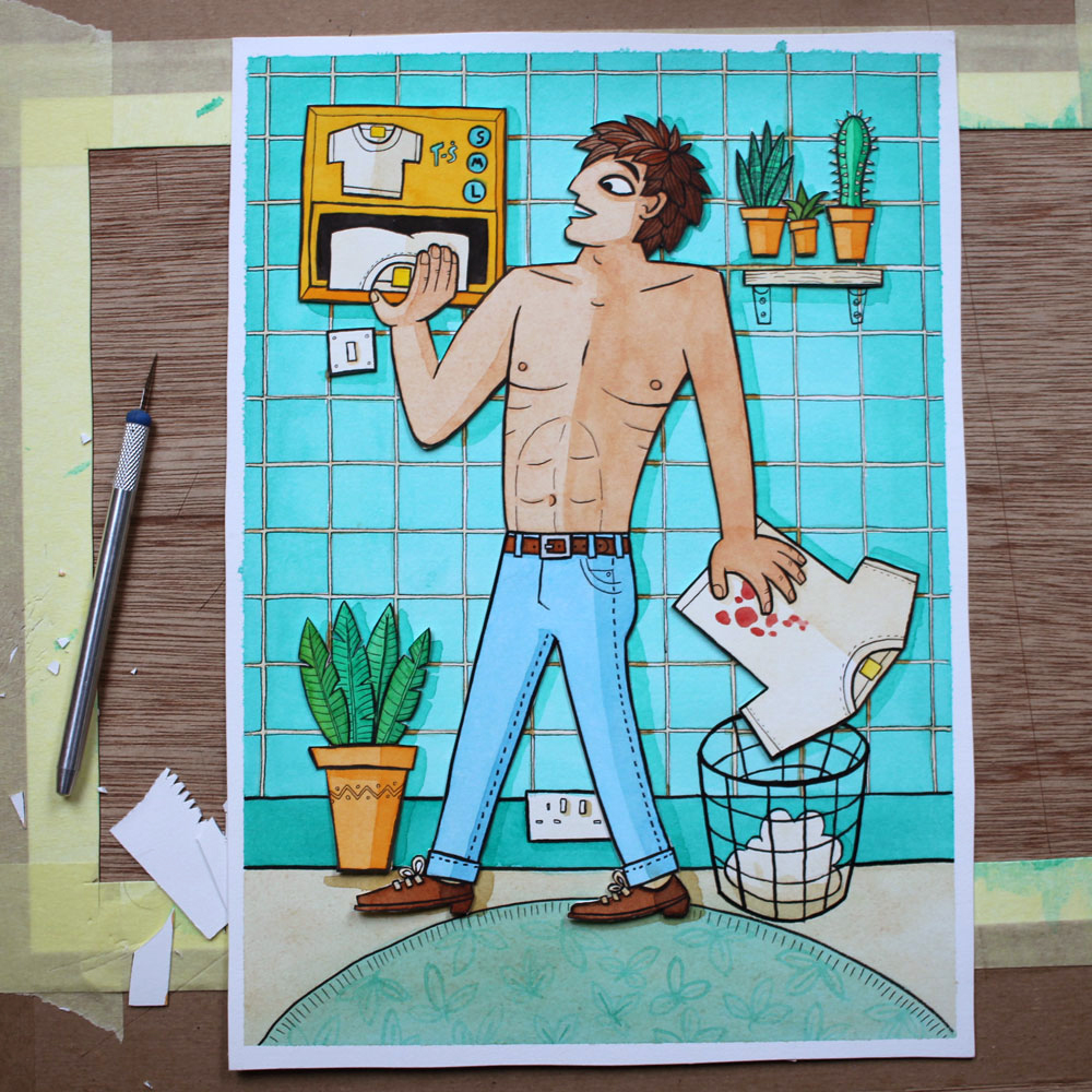 A photo of a papercut watercolour illustration of a man disposing of a t-shirt